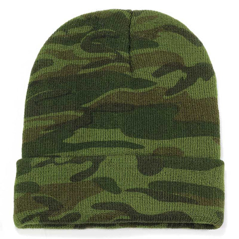Green Camo Knitted Beanie