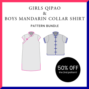 Girls Qipao and Boys Mandarin Collar Shirt Bundle