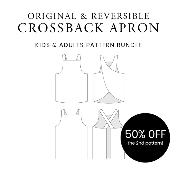 The Original + New! Reversible Crossback Apron - Adults and Kids Bundle