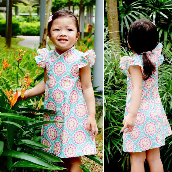 Girls Qipao A-line frill sleeve PDF sewing pattern