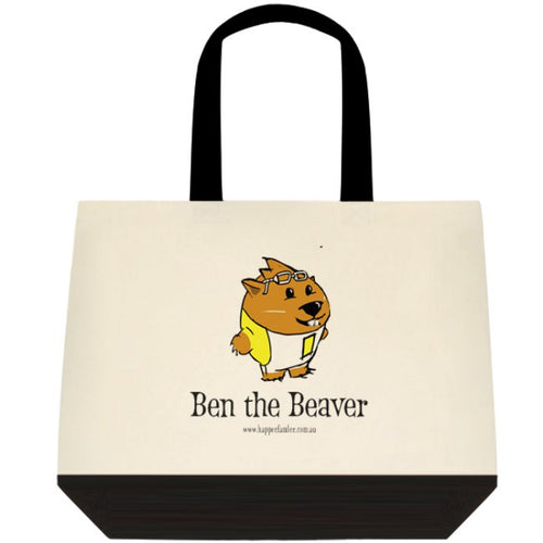 Tote Bag Black and White - Ben the Beaver