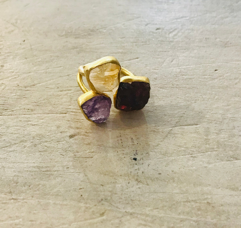 Gold Luxe Triple Ring with raw gems - Citrine, Amethyst