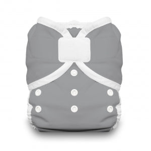 thirsties brand diaper cover solid gray with white snaps and hook and loop closure kansas city baby co