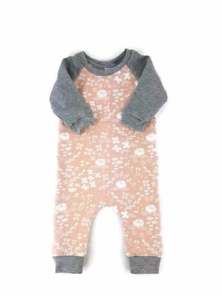 midbest threads romper soft pink floral print with charcoal gray ankle cuffs and sleeves kansas city baby co