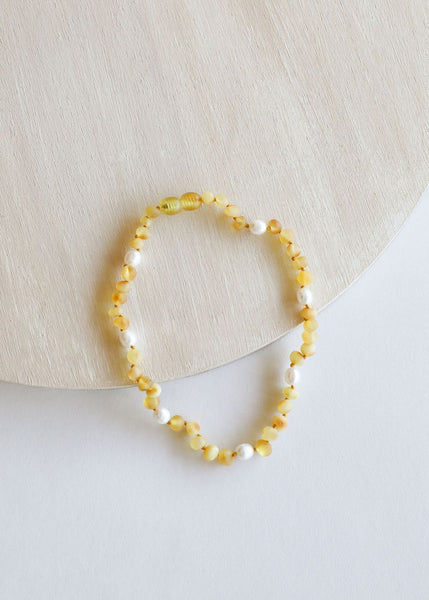 Kids Raw Amber + Gemstone Necklace: 11""