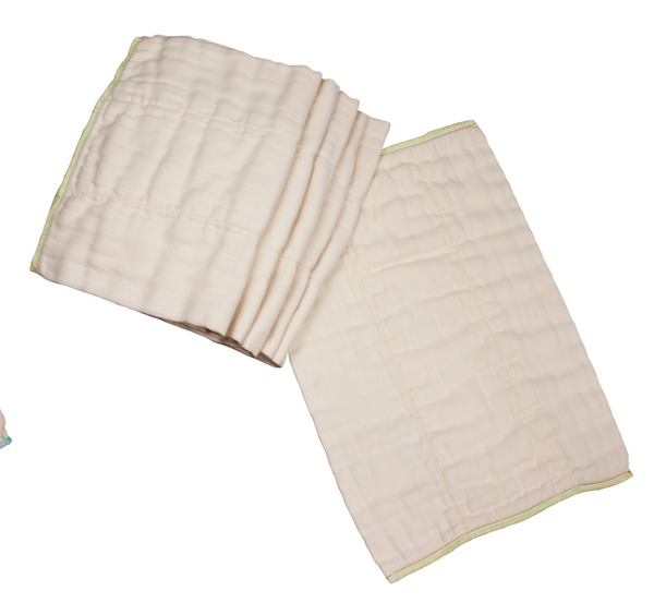 Bamboo/Organic Cotton Prefolds - Pack of 6