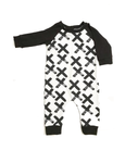 midbest threads romper white background x black print with black sleeves and black ankle cuffs kansas city baby co