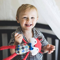blonde haired toddler boy standing in crib holding red stuffed animal fox heart and hudson kansas city baby co