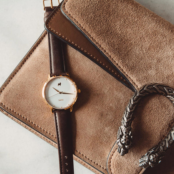 Spilt Milk + Brown Leather Strap