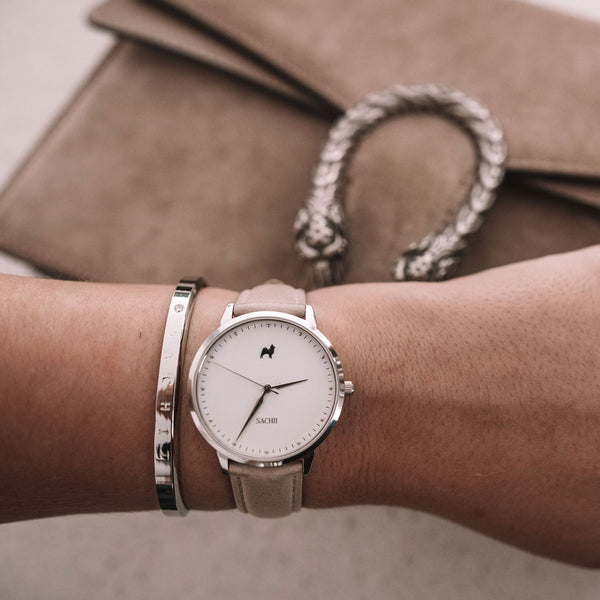 Hazelnut Latte + Mint Leather Strap