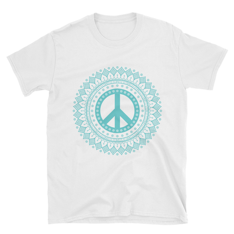 Short-Sleeve Unisex T-Shirt peace and love - Shobbek
