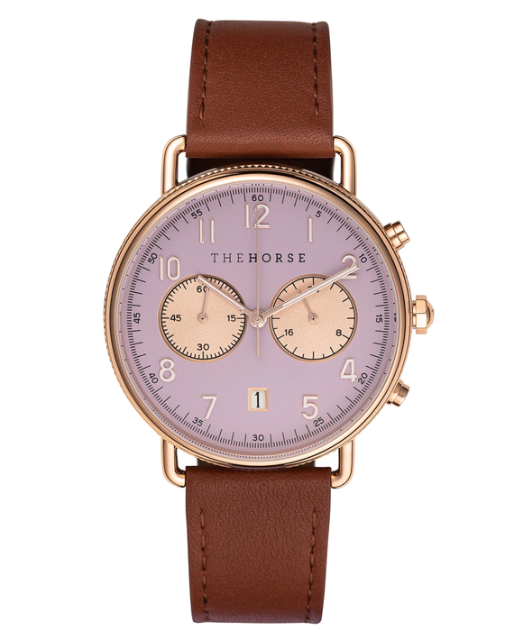 The Horse - The Mini Chronograph - Polished Rose Gold / Lilac Dial / Tan