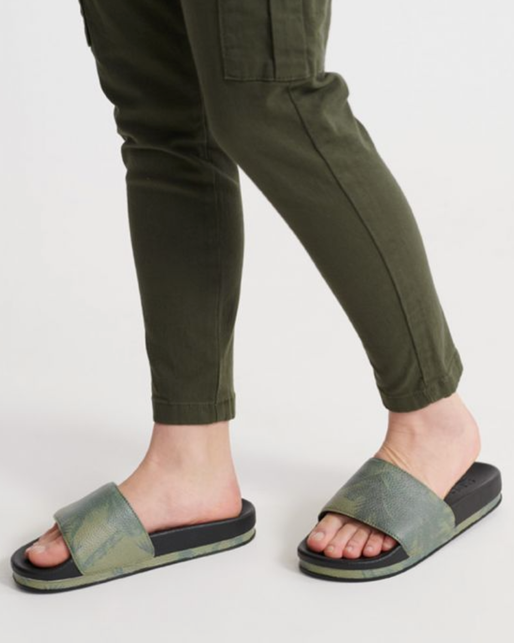 Superdry Arizona High Flatform Slide - Green/Black