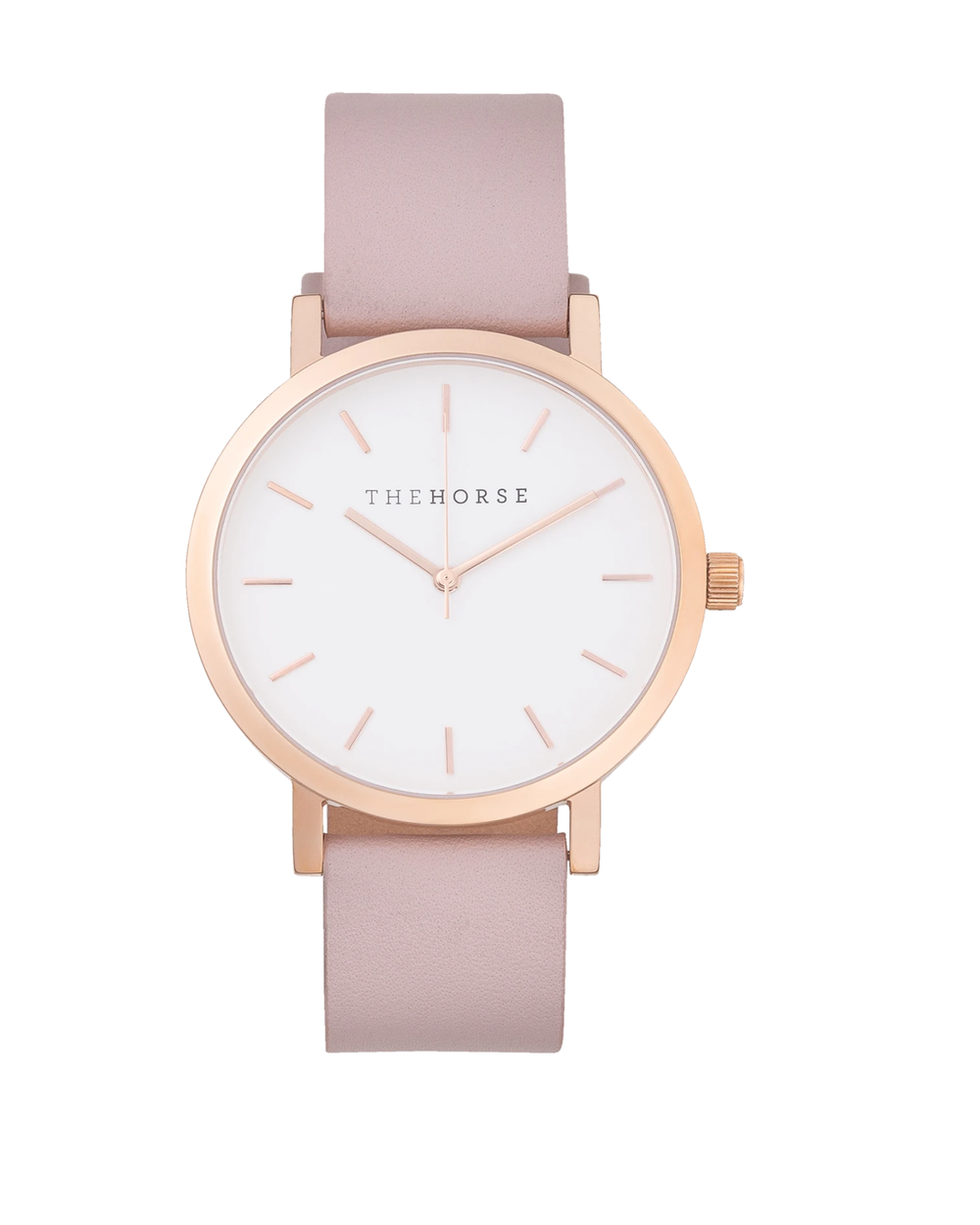 The Horse The Original- Polished Rose Gold / White Dial / Blush Leather