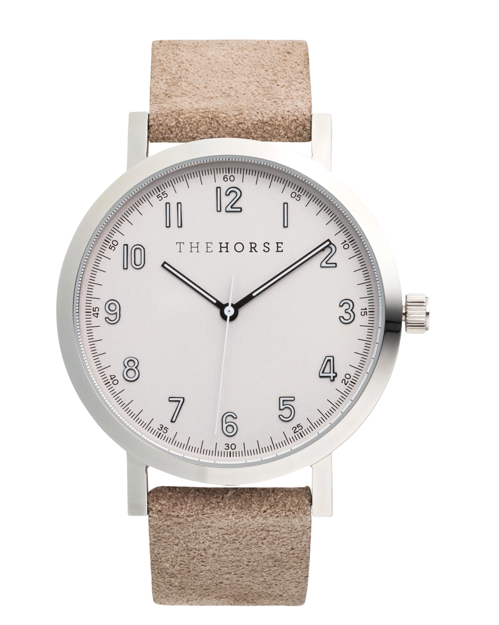 The Horse Original 2.0 Watch In Polished Silver / Bone Suede Leather Strap