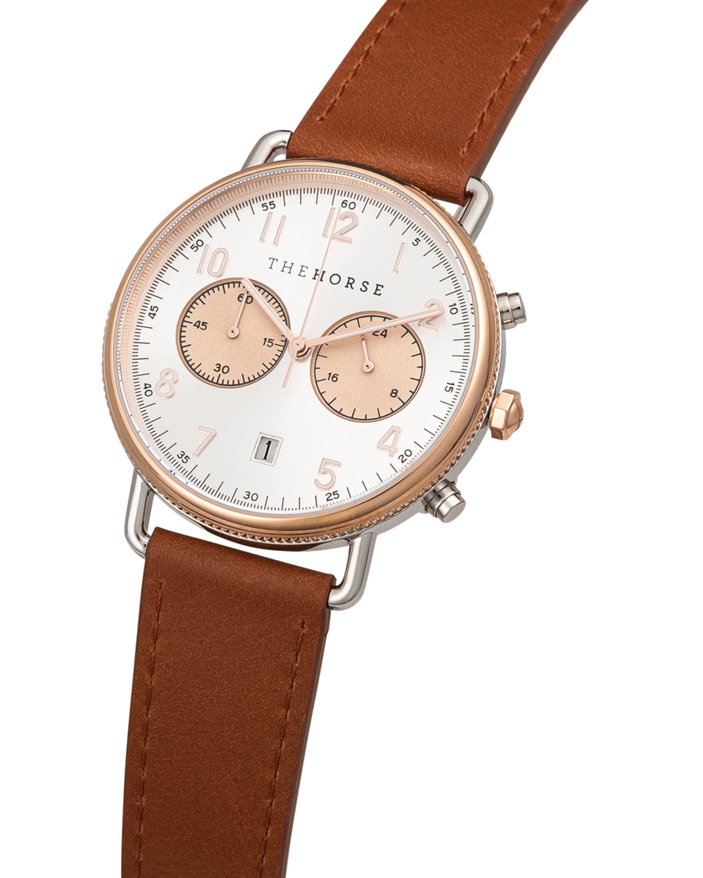 The Horse Mini Chronograph - Polished Rose Gold + Silver / Tan Leather Strap