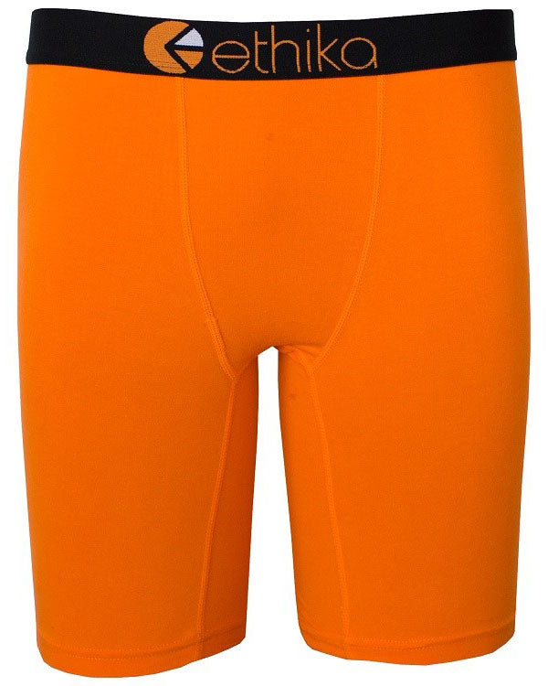 Ethika Solid Orange & Black is a boxer brief with black jacquard waistband.