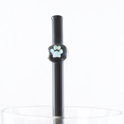 Paw Print Glass Straw, #748
