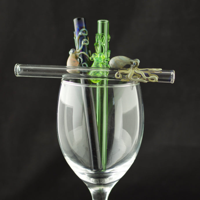 Octopus Glass Cocktail Straw