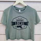 Support Local Crop Tee - Sage Green