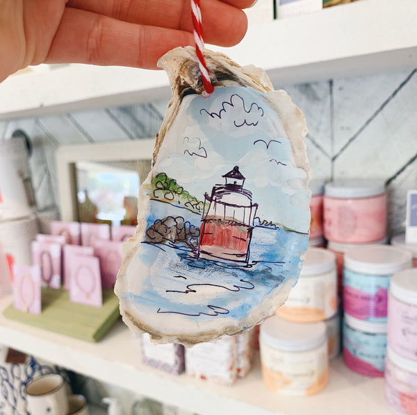 Bug Light Oyster Shell Ornament