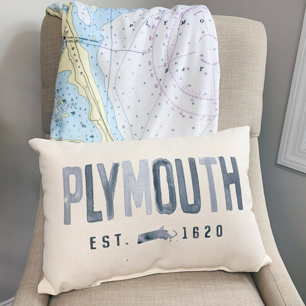 Plymouth Pillow - Grey Watercolor Block Print