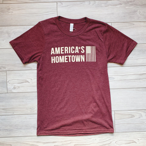Americas Hometown Flag T-Shirt - Burgundy