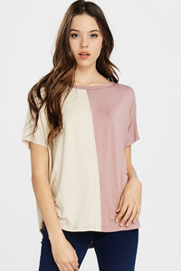 Oversized Color-Block Tunic Top