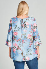 Floral Print Bell Sleeve Woven Top