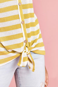 Striped Knit Button & Tie Top