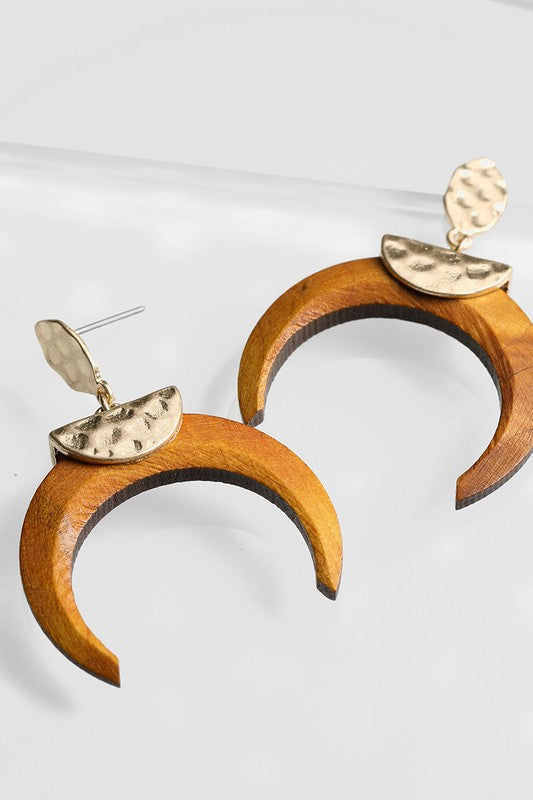 Wood Crescent Horn Earrings