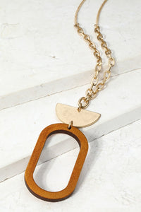 Wood and Oval Metal Necklace