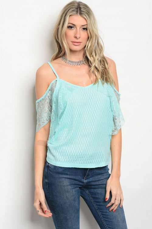 Mint Lace Cold Shoulder Tank