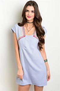 Embroidery Chambray Dress