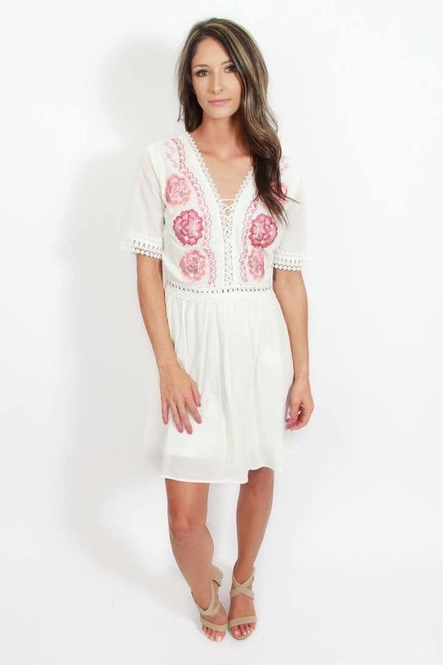 Fall White Embroidered Dress