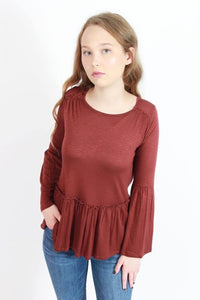 Fall Bell Sleeve Ruffle Top