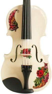 Rozanna's Violins 4/4 Butterfly Rose Tattoo White Violin