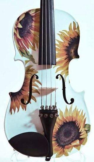 Rozanna's Violins 4/4 Sunflower White Glitter Violin Outfit