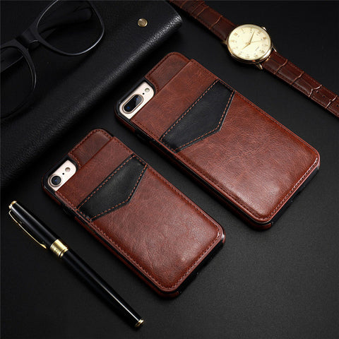 KISSCASE Vertical Flip Card Holder Leather Case For iPhone 6 6s 7 Plus Retro Cover Phone Bag Case For iPhone 8 Plus Wallet Pouch