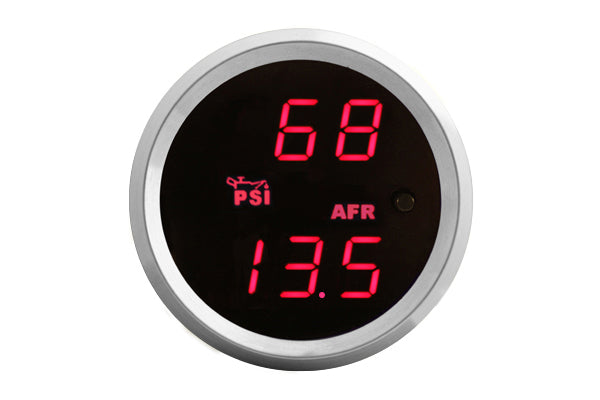 VEI Systems dual display boost & AFR gauge (Red, Silver bezel)