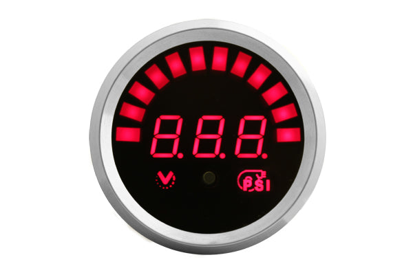 VEI Systems boost gauge (Red, Silver bezel)