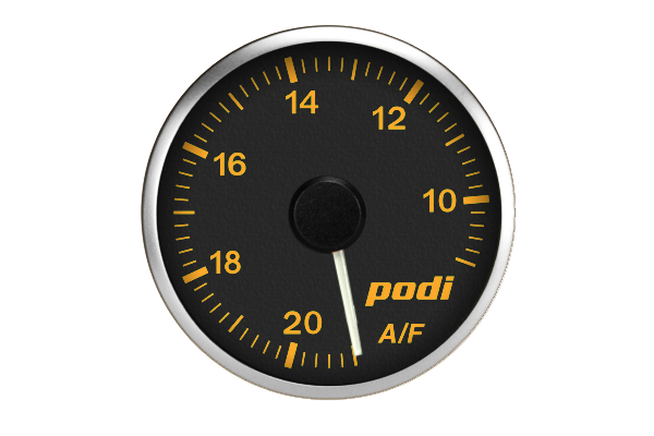 Podi Electronic Stepper Motor Air Fuel Ratio Gauge (AFR, white needle) *Limited Edition BMW Orange Color Match*