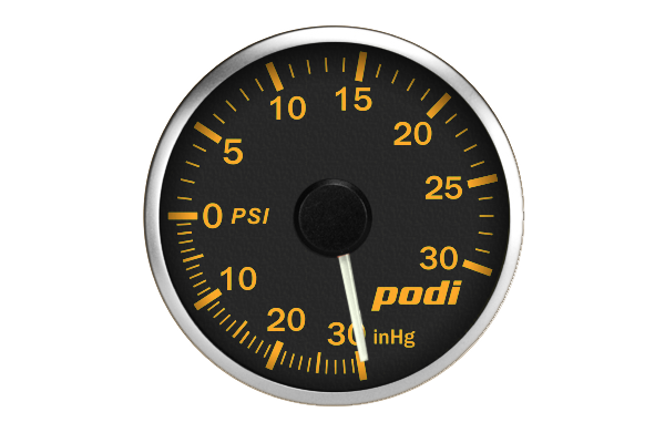 Podi Electronic Stepper Motor Boost Gauge (Imperial units, white needle) *Limited Edition BMW Orange Color Match*