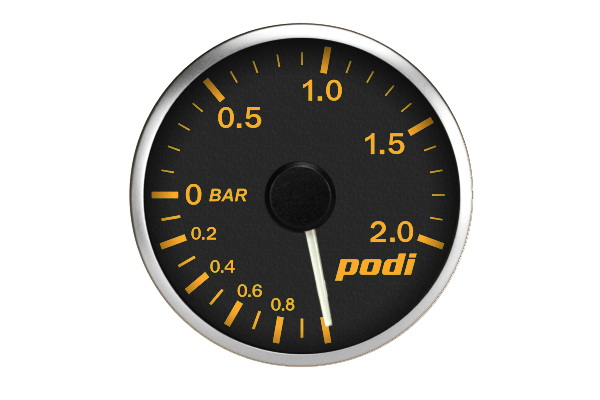 Podi Electronic Stepper Motor Boost Gauge (Metric units, white needle) *Limited Edition BMW Orange Color Match*