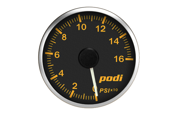 Podi Electronic Stepper Motor Oil Pressure Gauge (Imperial units, white needle) *Limited Edition BMW Orange Color Match*