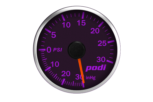 Podi Electronic Stepper Motor Boost Gauge  (Imperial units, red needle, VW BLUE)