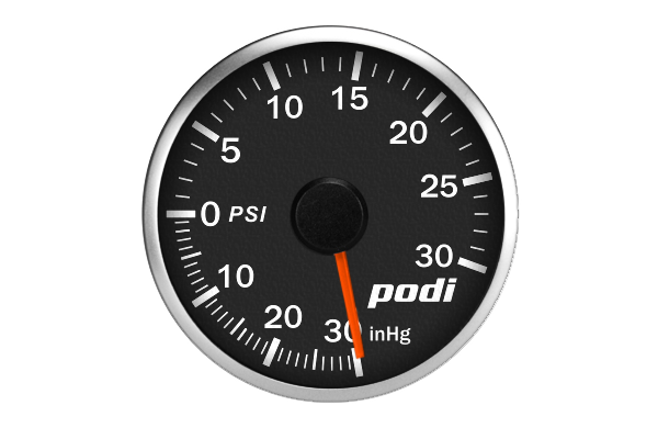 Podi Electronic Stepper Motor Boost Gauge  (Imperial units, red needle)