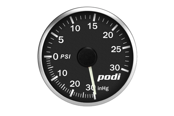 Podi Electronic Stepper Motor Boost Gauge  (Imperial units, white needle)