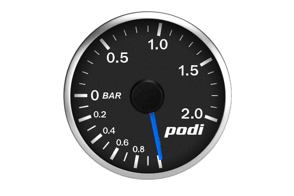 "Podi Electronic Stepper Motor Gauge (""True Blue"" Golf R needle) - Metric Units"
