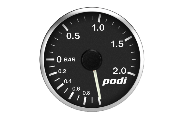 Podi Electronic Stepper Motor Boost Gauge (Metric units, white needle)